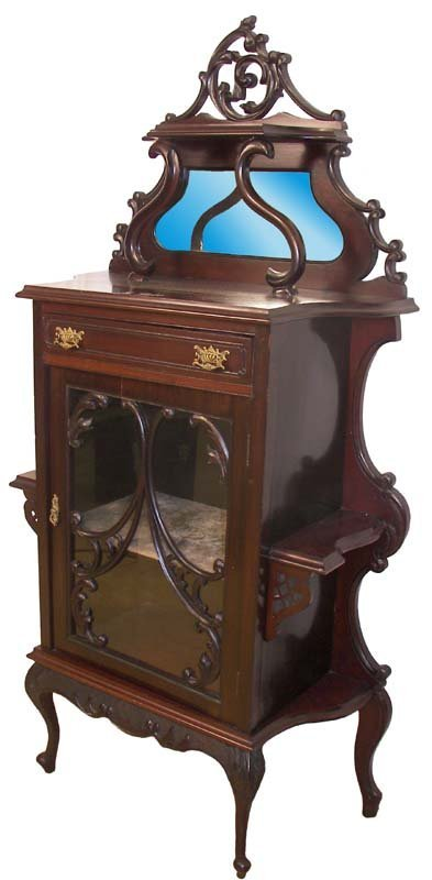 11: Mahogany curio cabinet with etagere sides