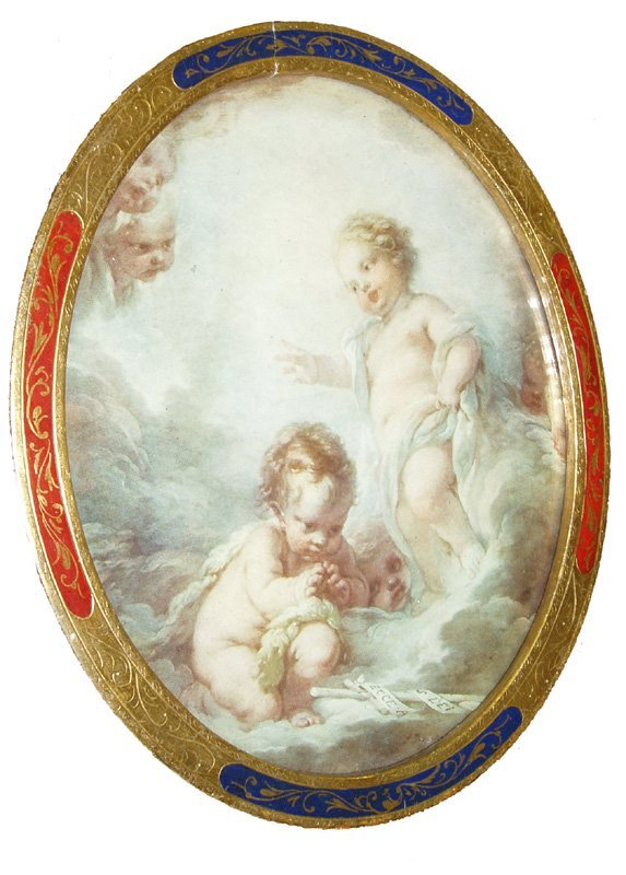 17: Watercolor of puttis in paint decorated frame