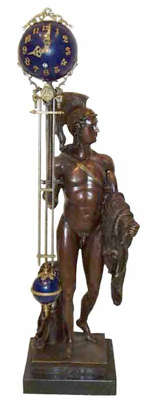 "222: Large figural bronze knight swing arm clock 33""h"