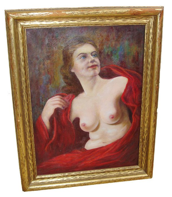 2: 19th C. oil on canvas of nude woman