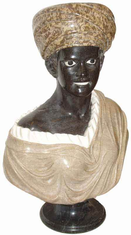 "29: Multi color marble bust of African woman 32"" h"