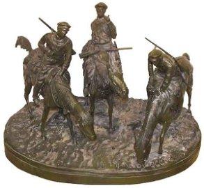 431: Ca. 1900 Russian bronze figural statue,signed