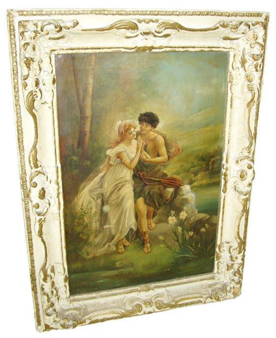 "1: Oil on canvas ""lovers"" signed Ri Grar"