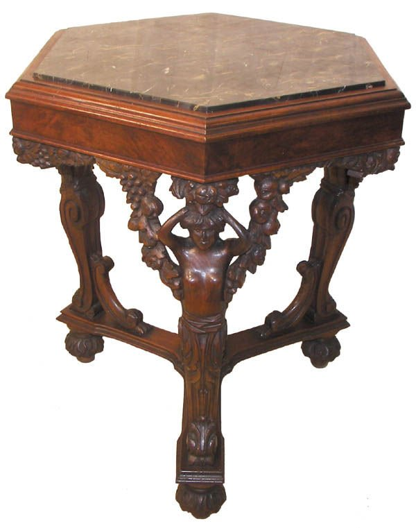 7: C1890 detailed carved marble top center table