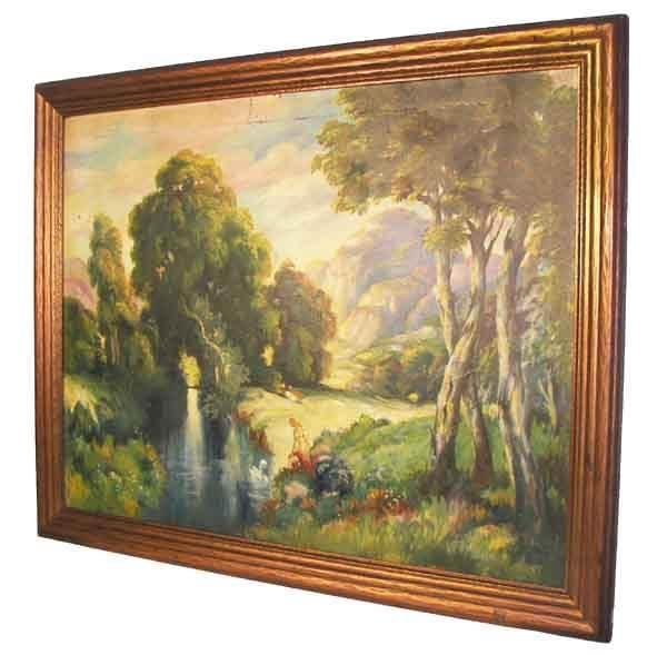 11: 20th Century landscape with original gilt frame