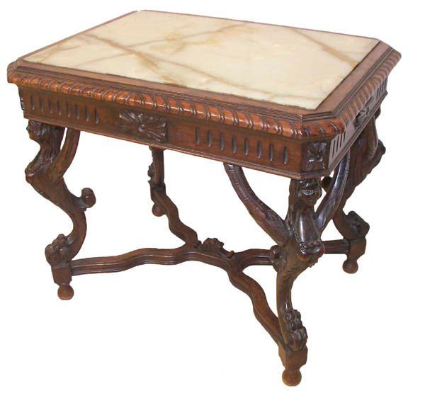 14: Walnut marble top coffee table with winged ladies