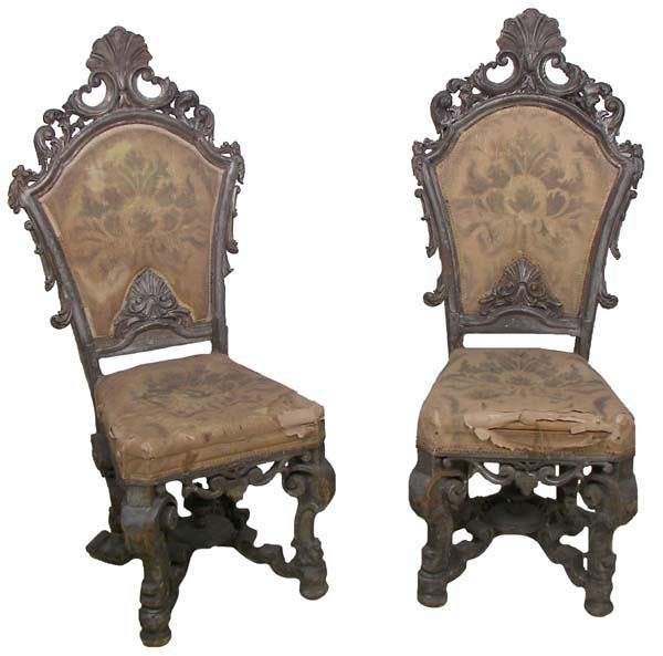 21: Pr. 18th C. Italian Venetian high back chairs