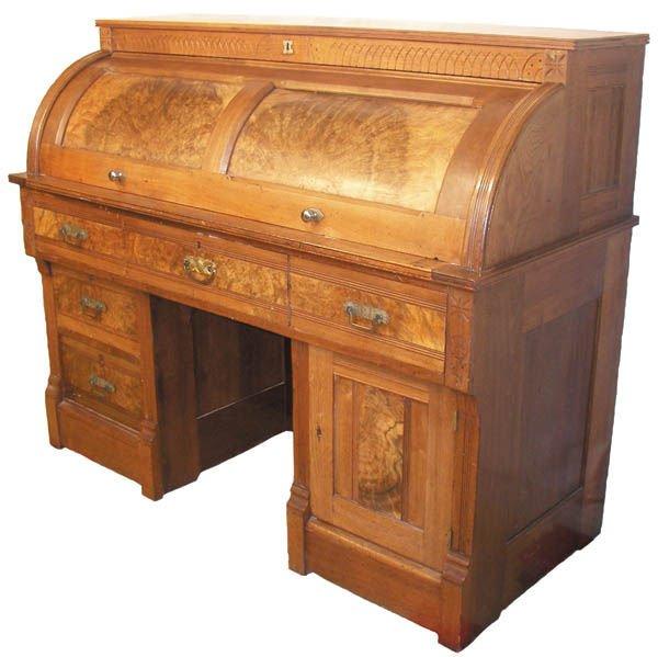 26: Victorian American kneehole cylinder desk