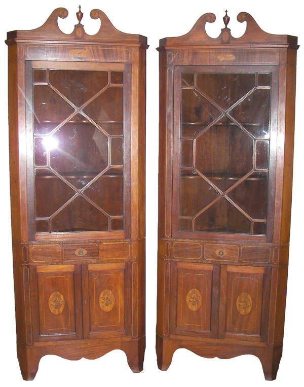 46: Pr. mahogany corner cabinets w/inlaid doors