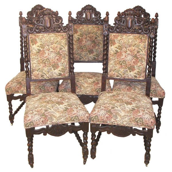 47: 6 American quarter sawn oak diningroom chairs