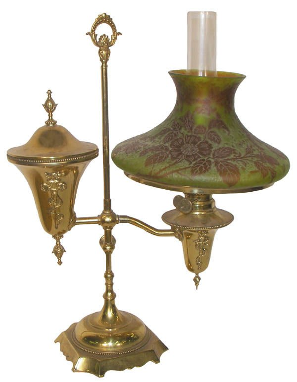 51: E. Miller brass student lamp with Nancito shade