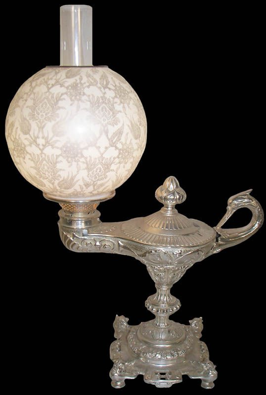 52: Silver plated single bird student lamp w/shade
