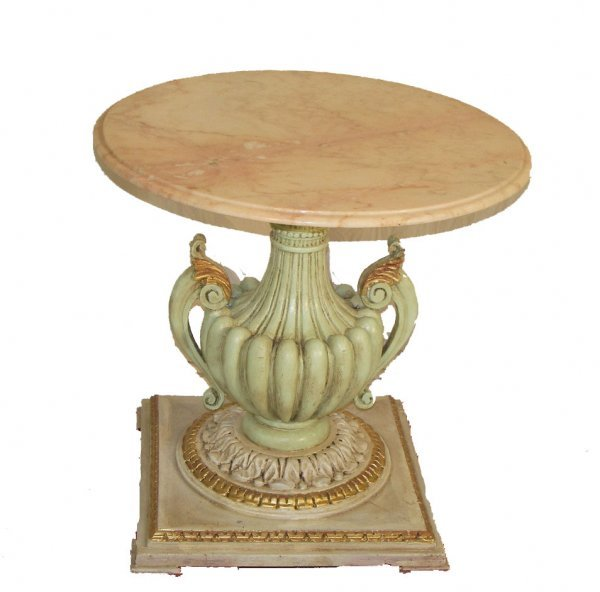 14: Ca. 1910 paint decorated marble top occassional tab