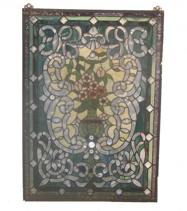 16: 20th C. stained and leaded glass panel