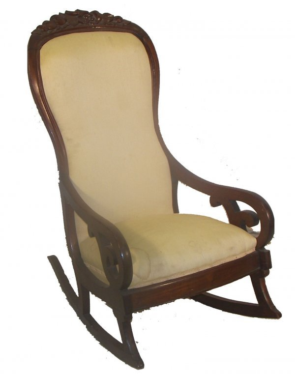 17: Lincoln rocker with carved floral crest