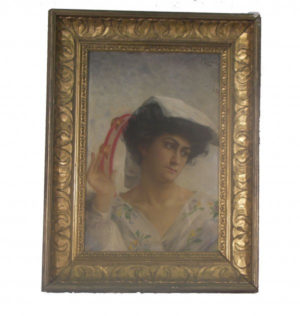 18: Antique framed oil on canvas portrait of a woman