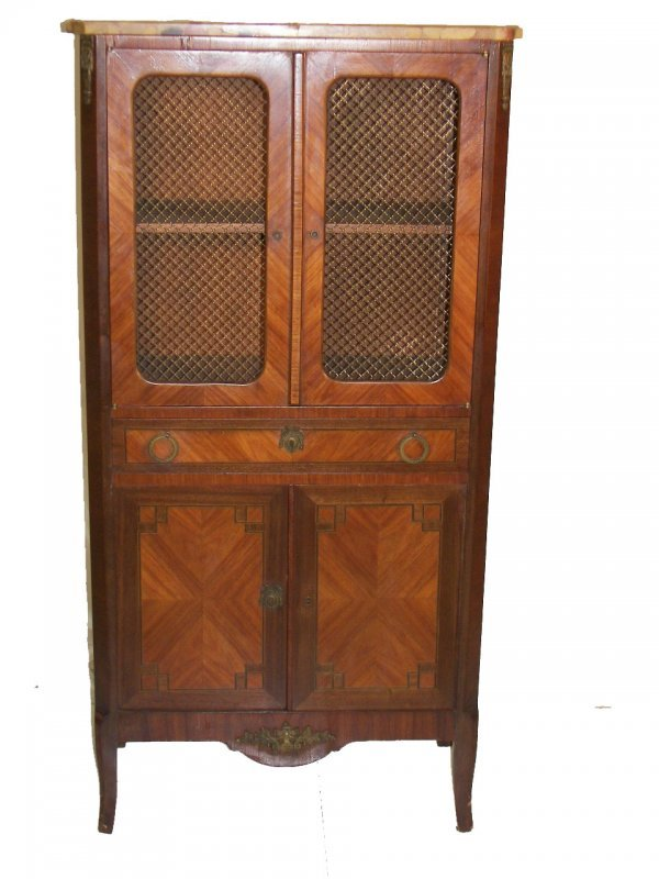 19: 19th C. French kingswood marble top 2 door cabinet