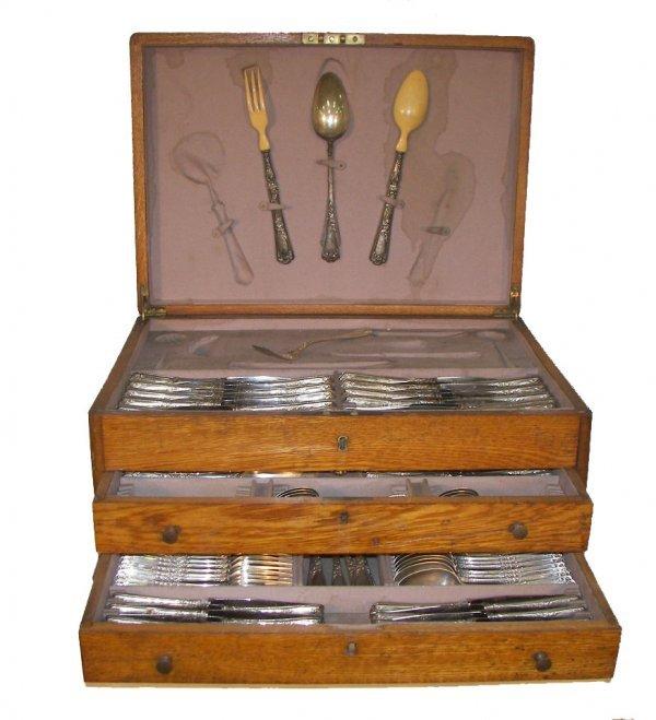 """24: Antique sterling silver """"Christophle"""" flatware set"""