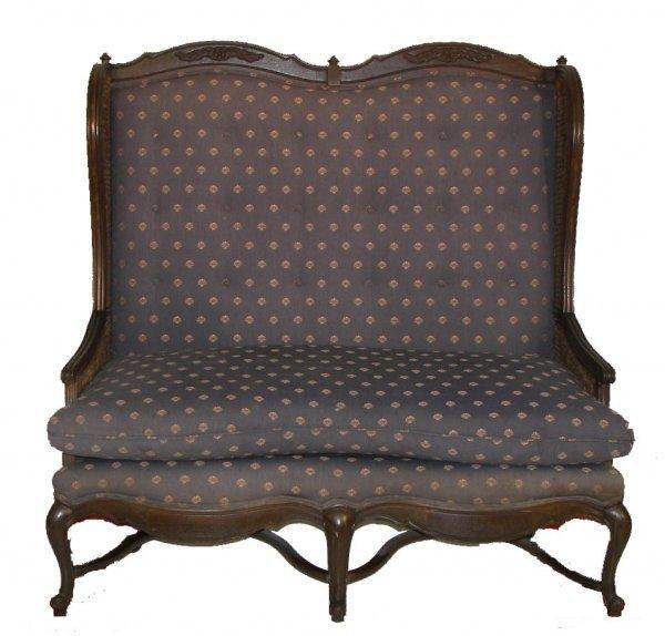 26: 19th C. country Fr. sofa w/Queen Ann legs