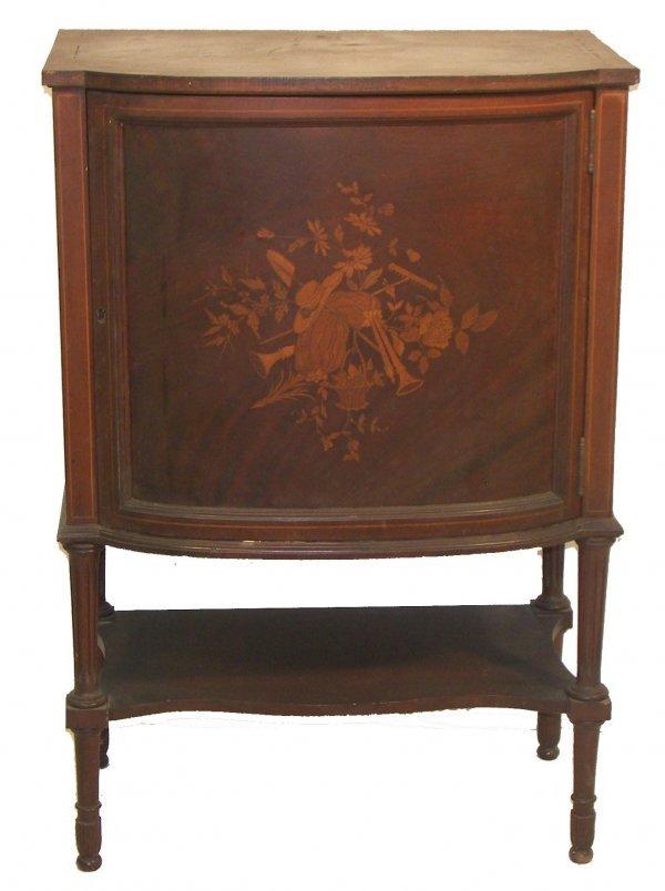 27: Antique music cabinet with inlaid door