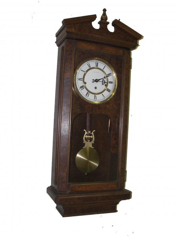 376: German Hamilton wall clock w/broken arch top