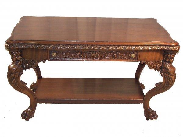 856: mahogany carved RJ Horner style desk