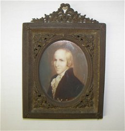 668A: 18th C. oil on ivory portrait of Timothy Pickerin