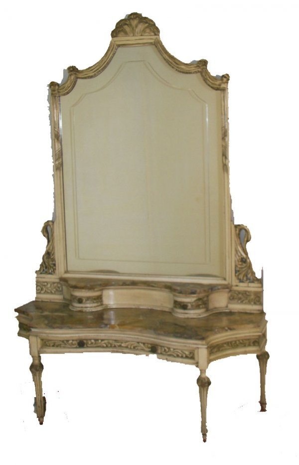 1: Ca. 1910 paint decorated marble top vanity with swan