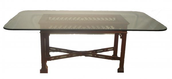 10: Custom made beveled glass top dining table