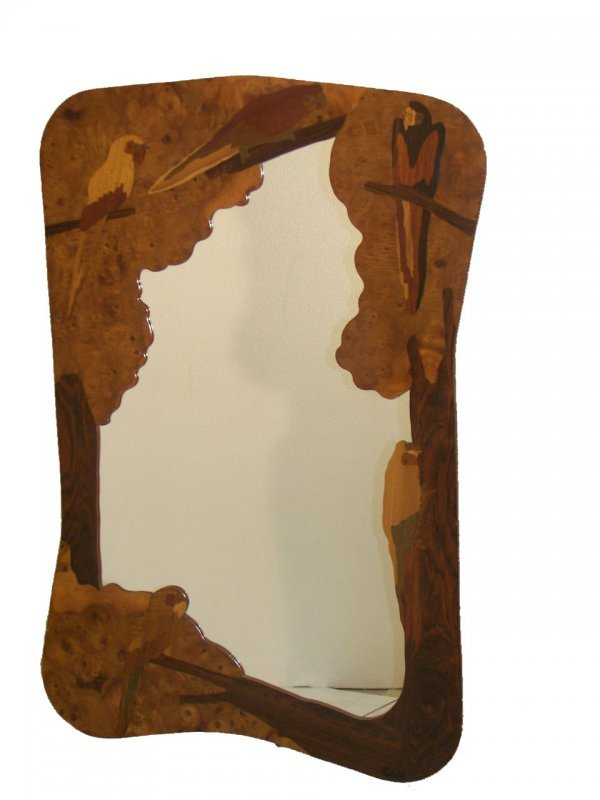 11: Early 20th C. Marjorelle style inlaid mirror with p