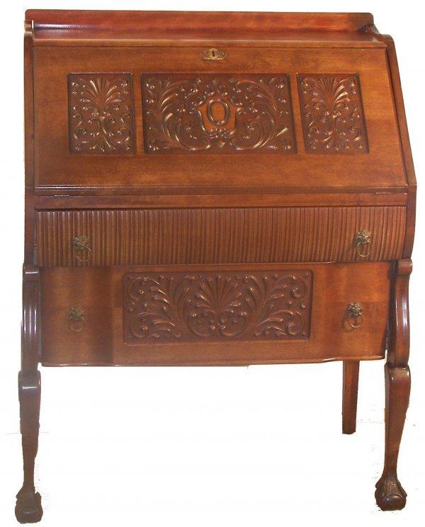 13: Horner style mahogany carved slant front desk