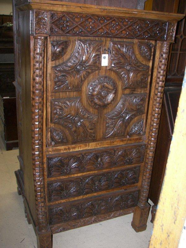 15: Early 19th C. detail carved oak Gothic dropfront de