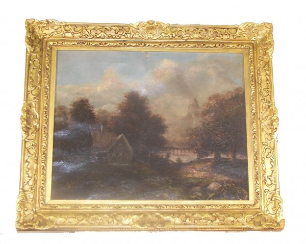 20: 19th C. framed oil on canvas of English country sce