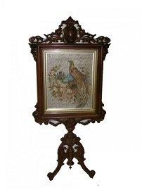 24: 19th C. Brooks Bros. walnut pedestal firescreen