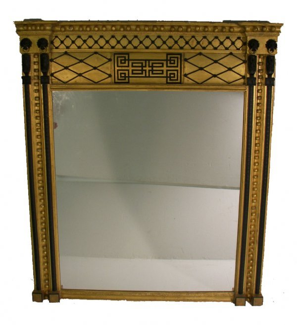 """1: Large Ca. 1880 gilded Egyptian Revival mirror 78""""h x"""