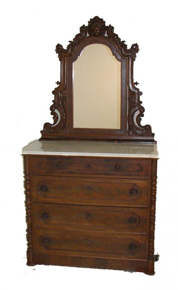 3: American Victorian rosewood marble top dresser