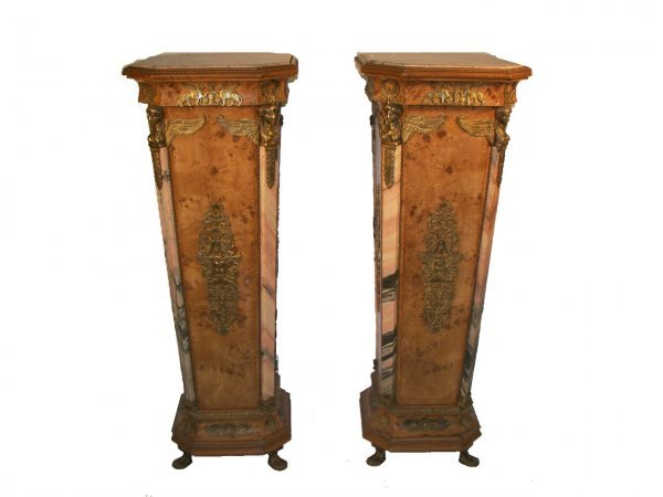 """9: Pr. wood & marble 51"""" Egyptian style pedestals with"""