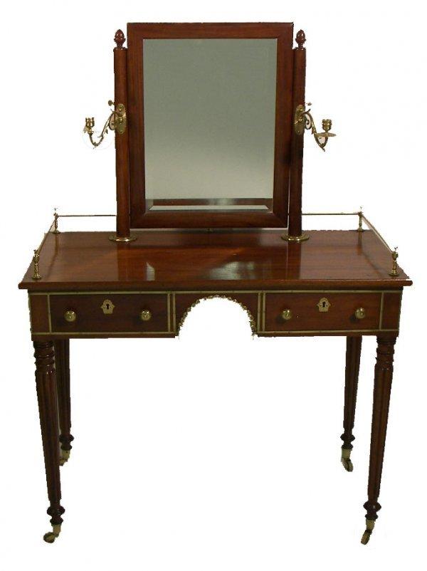 17: 19th C. American Empire mahogany vanity with origin