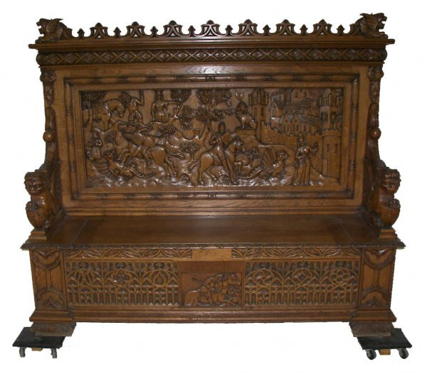 19: Gothic carved oak lift top bench with lions and shi