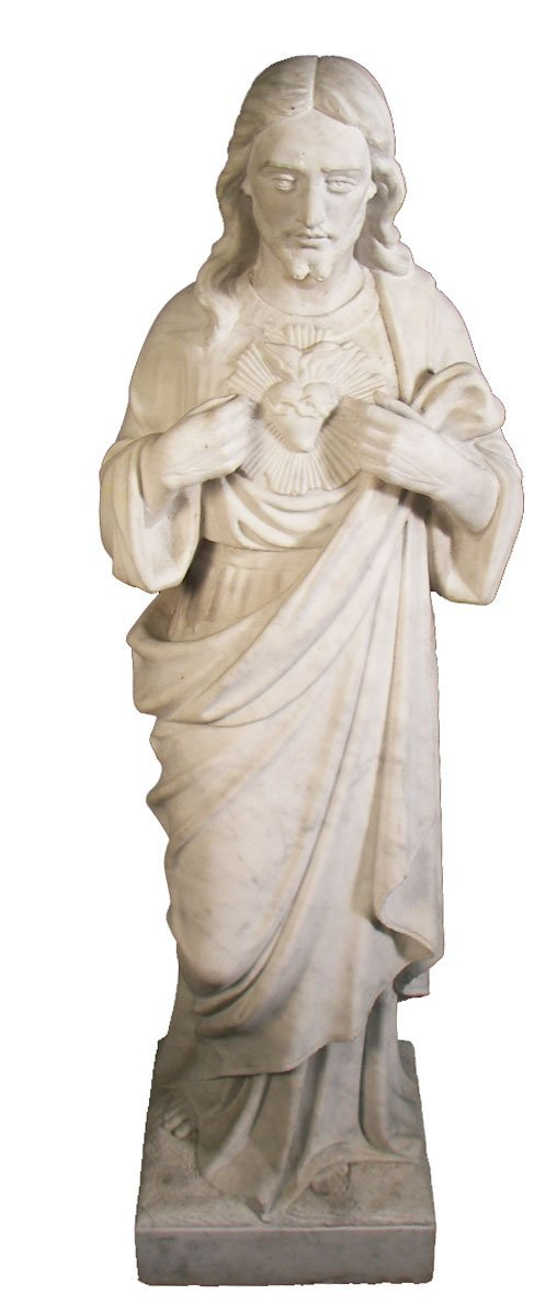 "21: 19th C. white Carrara marble 31"" statue of Jesus"