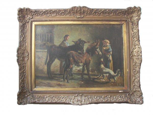 23: 19th C. framed oil on canvas barnyard with donkeys?