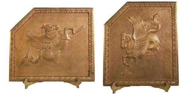 24: Pr. of 19th C. signed Bradley & Hubbard bronze plaq