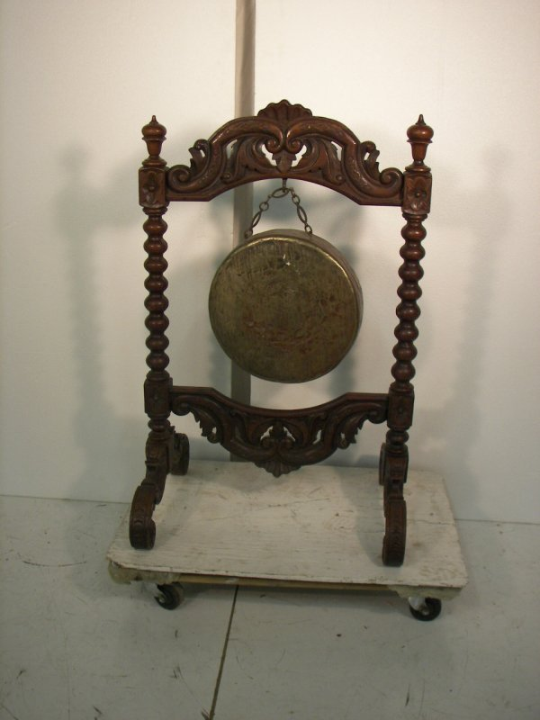518: 19th C. gong in detail carved walnut Alexander Rou