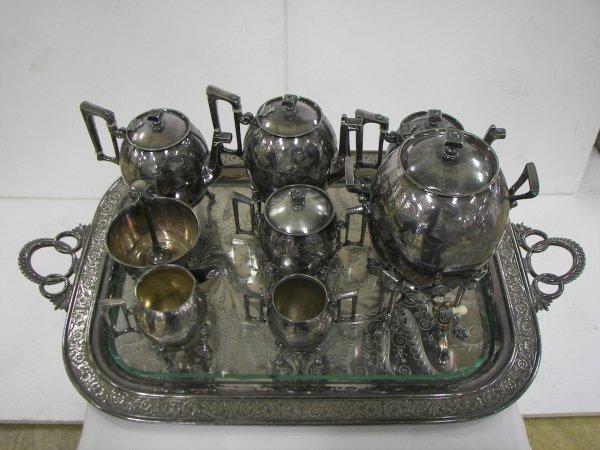13: Ca. 1900 9 pc. silverplate Eastlake tea set with ra