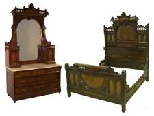 844: Victorian Herter style 2 pc. walnut marble top bed
