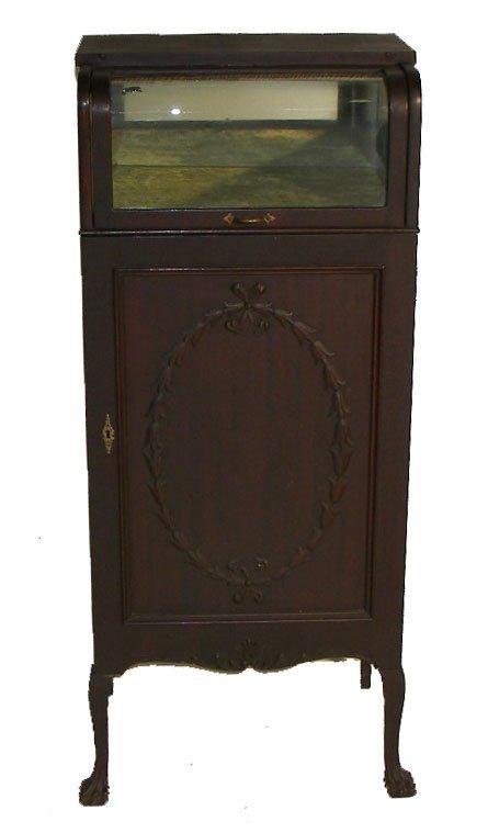 7: 19th C. mahogany record cabinet w/J curve glass