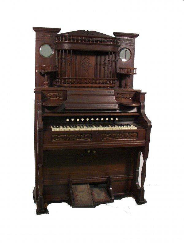 13: 1890's Eastlake walnut organ w/spindles,mirrors