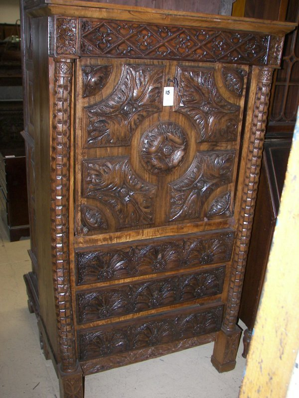 15: Early 19th C.carved oak Gothic dropfront desk