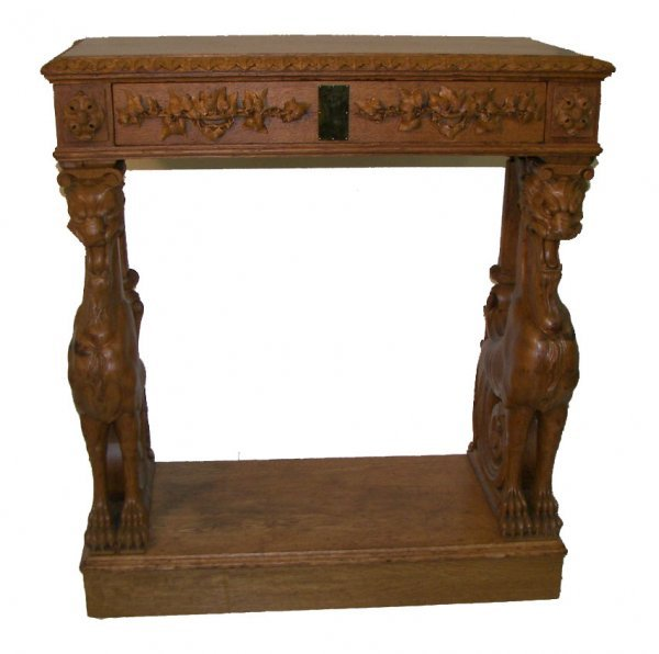 16: 19th C. American oak winged griffin server