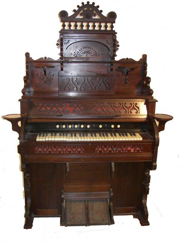 19: 1890's walnut Eastlake organ w/ adjustable stool